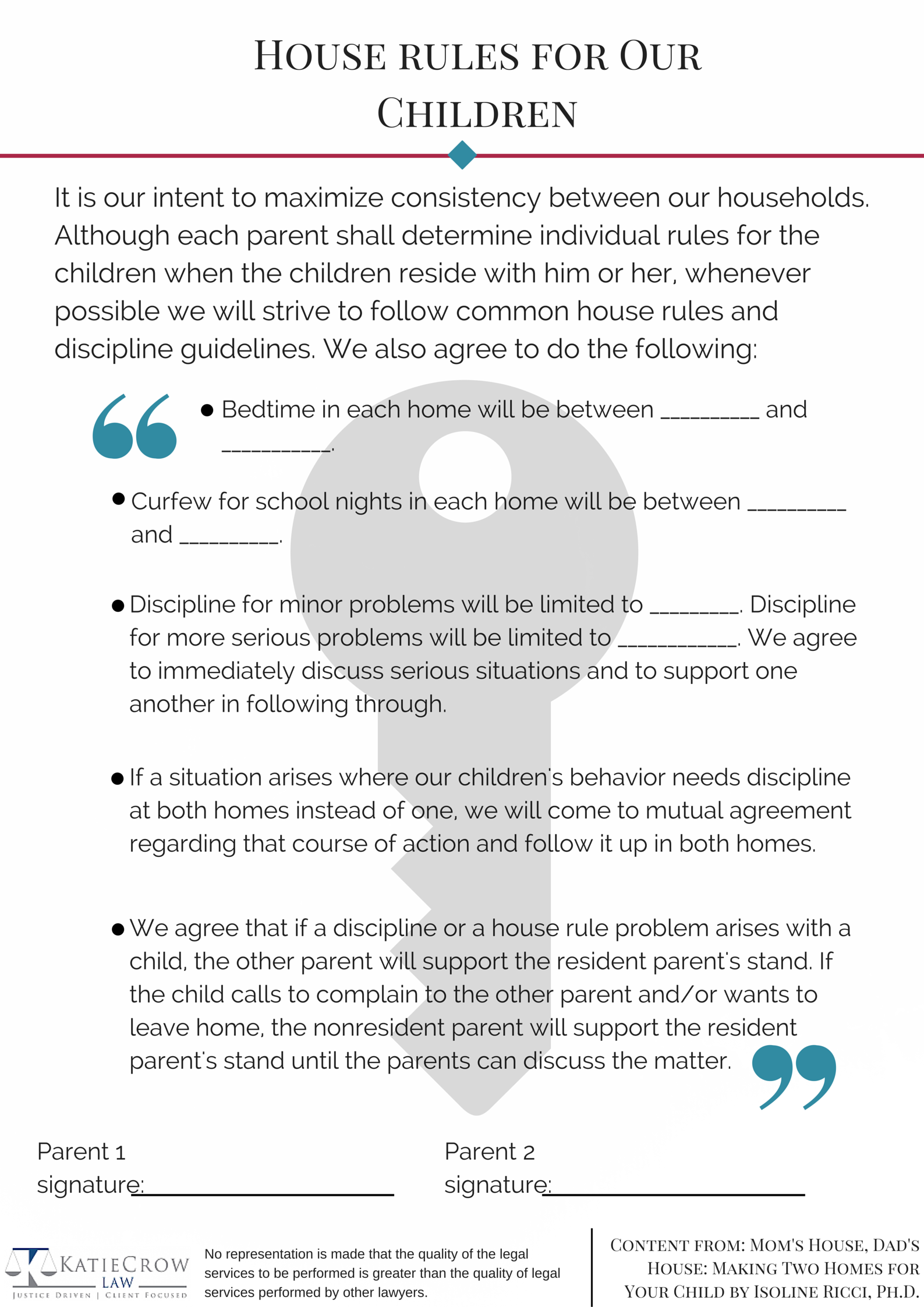 House rules after divorce – Parenting Plan Example